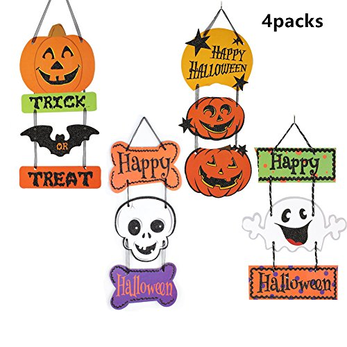 Halloween Hanging Door Decorations and Wall Signs, Haunted House Decor, For Home, School, Office, Party Decorations, Set of 4 - Trick or Treat & Happy Halloween
