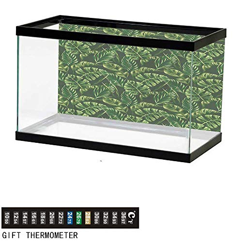 bybyhome Fish Tank Backdrop Hunter Green,Tropical Palm Leaves,Aquarium Background,36