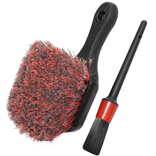 Wheel & Tire Brush, Soft Bristle Car Wash Brush, Free Detailing Brush, Cleans Dirty Tires & Releases Dirt and Road Grime, Short Handle for Easy Scrubbing