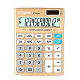 Aisa Office Student Counting Calculator Machine 12 Digits LED Screen Display Computing Counter Gold