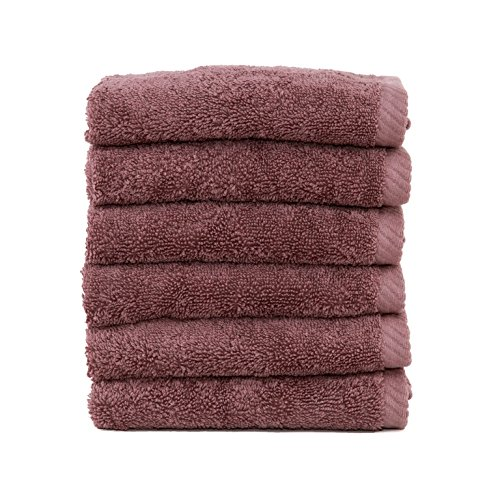 (Linum Home Textiles Soft Twist Premium Authentic Soft 100% Turkish Cotton Luxury Hotel Collection Washcloth, Set of 6, Sugar Plum)