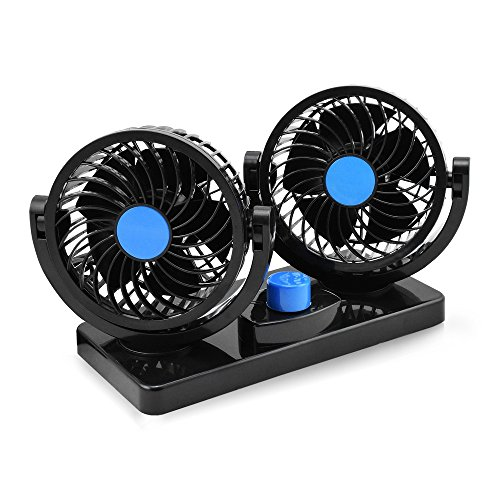Taotuo 12V Electric Car Fan 360 Degree Rotatable 2 Speed Dual Head Car Auto Cooling Air Circulator Fan for Van SUV RV Boat Auto Vehicles (Fan Cool Motor Heatsink)