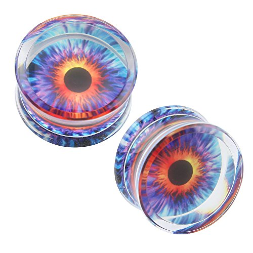 Acrylic Transparent Purple Eyeball Fashion Ear Plugs Tunnel Expander Gauges Piercing (Gauge=5/8