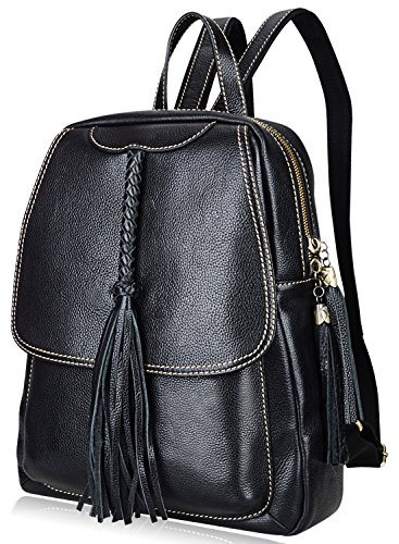 PIJUSHI Fashion Women Leather Backpack Designer Backpack For Girls Travel School Bag 8823 (Black) by PIJUSHI