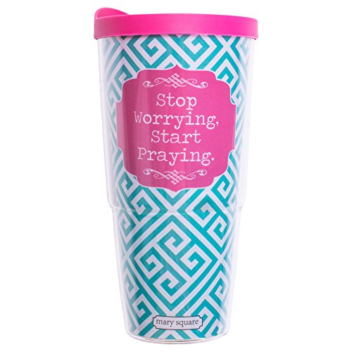 Teal Pink Start Praying Insulated 24 ounce Travel Tumbler With Lid and Straw