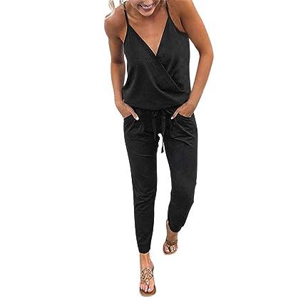 3dad85bb309 Dreamyth-Summer Women Pocket Off Shoulder V Neck Sleeveless Rompers  Jumpsuit Playsuit (Black