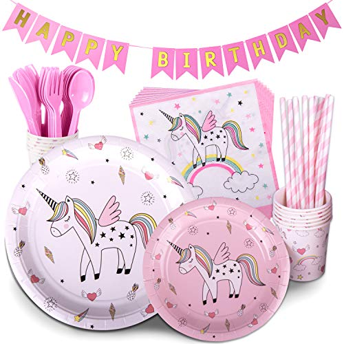 Unicorn Birthday Party Supplies Pink Children's Rainbow Party Supply Set with Bonus Happy Birthday Banner Serves 12 , 96 Pieces -