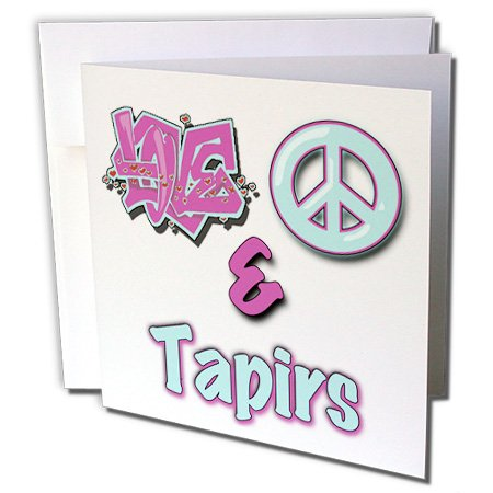 Blonde Designs Animals Love Peace And In Pastels - Love Peace And Tapirs In Blue And Purple - 12 Greeting Cards with envelopes (gc_122981_2)