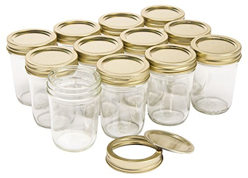 - North Mountain Supply 8 Ounce Glass Regular Mouth Tapered Mason Canning Jars - With Gold Two-Piece Lids - Case of 12