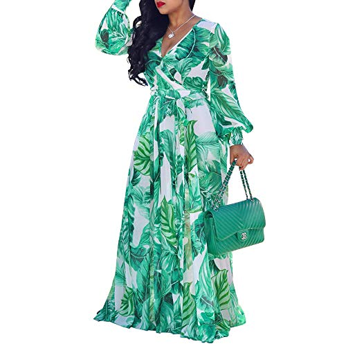 (WOOSEN Womens Summer Boho Chiffon Floral Print Maxi Dress V Neck Long Dresses with Belt)