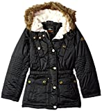 Pacific Trail Big Girls' Satin Parka, Black, 10/12
