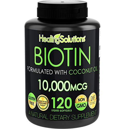 Biotin 10,000mcg (Vitamin B7-120 Pills) Hair Growth Vitamins with Coconut Oil – Perfect Nail Skin Softgels Biotin Supplement for Women and Men - Incredibly High Potency Capsules