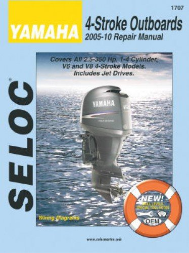 SL1707 2005-2010 Seloc Yamaha 4-Stroke 2.5-350 HP Outboard Boat Engine Repair Manual by