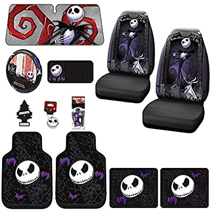 Yupbizauto 12 Pieces Nightmare Before Christmas Jack Skellington Car Truck SUV Seat Covers Rubber Front And