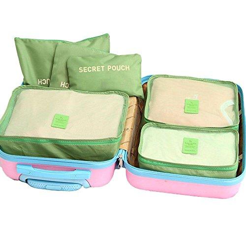 GGG 6 Stück Wasserdicht Reisentasche Speicher Beutel Würfel Aufbewahrung Grün