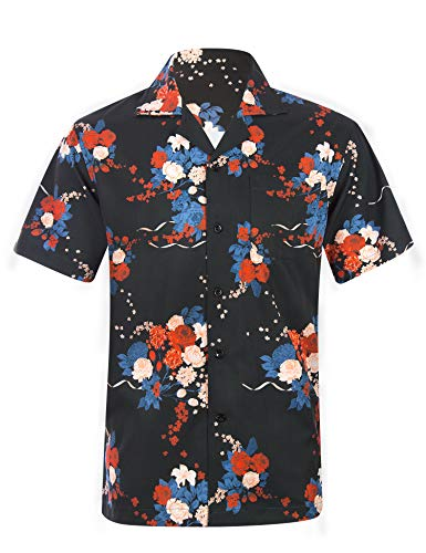 Mens Hawaiian Aloha Shirts with Flower Beach Casual Button Down Tropical Short Sleeve Funny Holiday