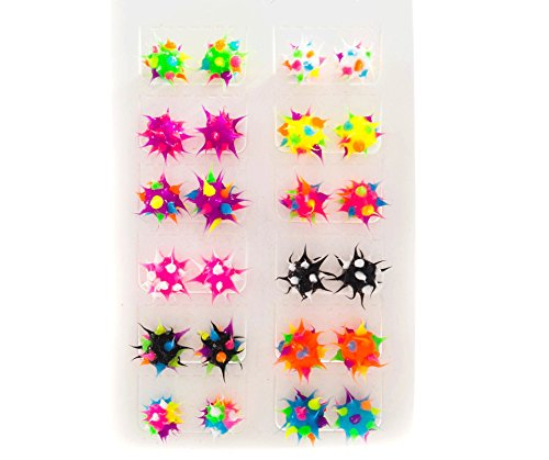 (Stud Earrings for Girls Teens Tweens (12 Pack) Hypoallergenic Earrings for Girls - Silicone Spiky Multicolored Rave Ball Earrings - Cute Gift Idea for Girls - Great Party Favors)