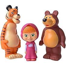 Set of Three Cartoon Characters Masha and the Bear Rubber Squeaking Bath Toys Masha Bear and Tiger Masha y el Oso