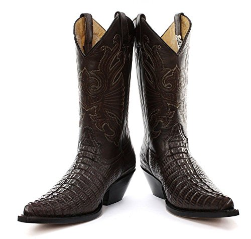 Grinders Carolina CROC Brown Leather Crocodile Tail Boot Cowboy Western Boots aWxKa2VZ