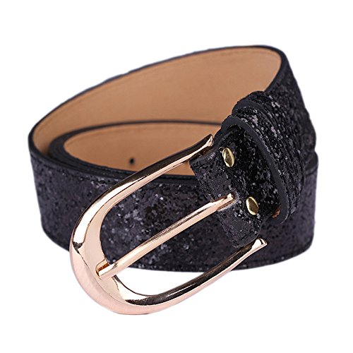 Bling Gold Buckle Belt (Corlink Sequin Studded Women Leather Belts for Jeans Waistband with Black Buckle)