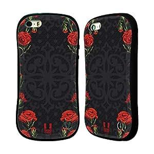 Head Case Designs Red Foral Floral Art Deco Hybrid Gel Back Case for Apple iPhone 5 5s