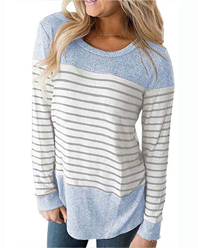Womens Long Sleeve Shirt Striped Shirt Color Block T-Shirts Causal Tops and Blouses Blue S