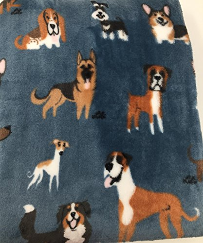 Berkshire Blanket Doggie Drawings Blue Pet Plush Throw Blanket - Various Dogs - Lili Chin Designs