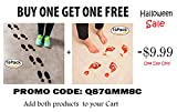 "Scary Bloody Footprints Floor Decals Clings Stickers for Halloween Decorations Bathroom Outdoor- 8"" X 4"" - 8 Pairs"