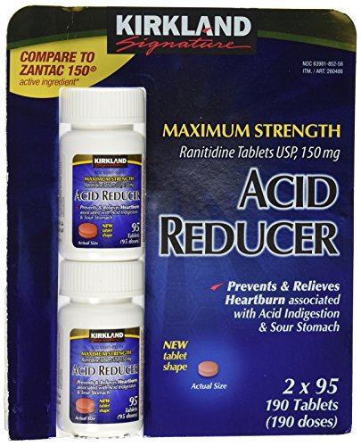 Kirkland Signature Maximum Strength Acid reducer  Ranitidine tablets USP  150MG  95 Tablets  2-Count  190 Total - Tablets 190