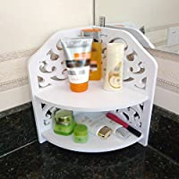 VERCART Small Corner Shelf Storage Rack Bathroom Toilet Storage Creative PVC Wood Home Plate Ledge