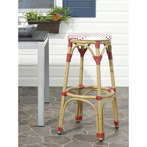 Safavieh Home Collection Kipnuk Red&White Indoor/Outdoor Barstool by Safavieh