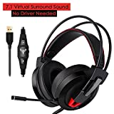 Gaming Headset, ieGeek 7.1 Channel PC Computer Gaming Headphones with Mic Virtual Surround Sound USB Wired Over Ear Headphones Stereo Noise Canceling Earphones with Volume Control/Bass Boost/LED Light For Sale