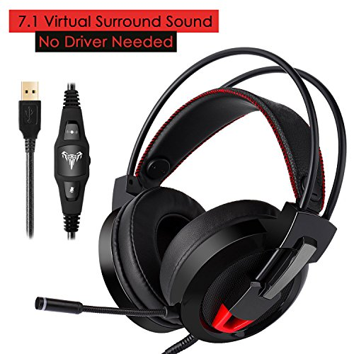 Gaming Headset, ieGeek 7.1 Channel PC Computer Gaming Headphones with Mic Virtual Surround Sound USB Wired Over Ear Headphones Stereo Noise Canceling Earphones with Volume Control/Bass Boost/LED Light