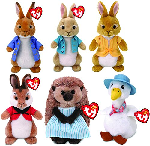 TY PETER RABBIT (Set of 6) - Peter Rabbit, Flopsy, Mopsy, Cotton Tail, Mrs. Tiggy Winkle & Jemima Puddle Duck!
