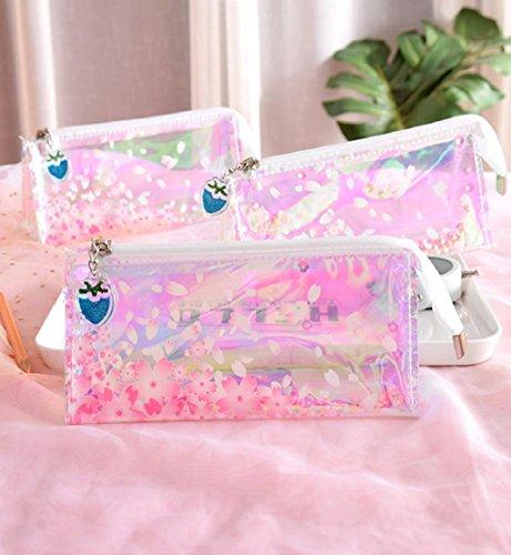 Price comparison product image Hot Sale!DEESEE(TM)Colorful Transparent Pencil Case Cosmetic Bag Makeup Pouch Tassel Pencils Box (C)