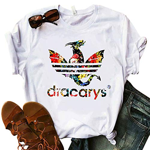 Women Dracarys Floral Flower Graphic T-Shirt TV Show Gamer Game Funny Tops Tee (White-2, Medium)