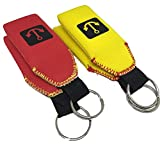 GoudaTech 4x Floating Neoprene Keychain Key Chain Floats 2-3 Keys, (2x Red and 2x Yellow)