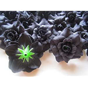 """(24) Silk Black Roses Flower Head - 1.75"""" - Artificial Flowers Heads Fabric Floral Supplies Wholesale Lot for Wedding Flowers Accessories Make Bridal Hair Clips Headbands Dress 2"""