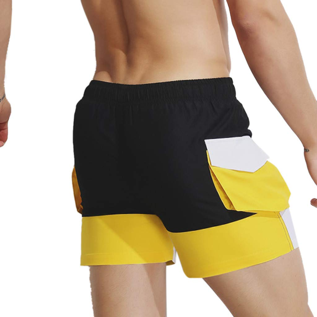 Palarn Sports Pants Casual Cargo Shorts Mens Summer Fashion Color Collision Beach Surfing Swimming Sports Short Pants