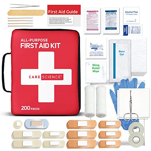 Care Science First Aid Kit All Purpose, 200 Pieces | Professional Use for Travel, Work, School, Home, Car, Survival, Camping, Hiking, and More