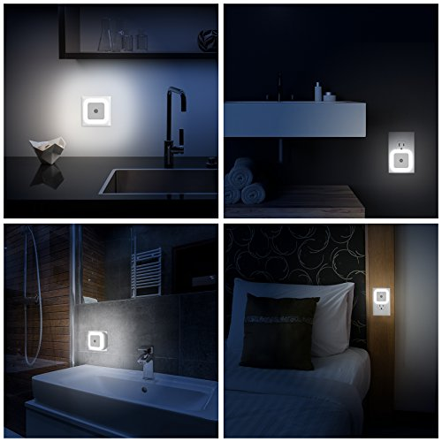 Vont Plug in LED Night Light Lamp with Dusk-to-Dawn Sensor for Bedroom, Bathroom, Hallway, Stairs, Kitchen, Energy Efficient, Compact (Daylight White, 6 Pack) by Vont (Image #4)