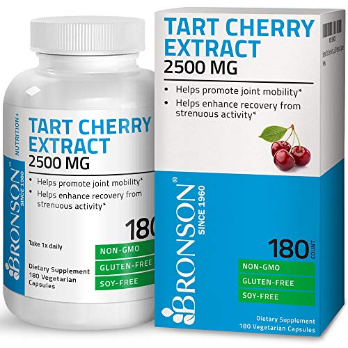 Bronson Tart Cherry Extract 2500 mg Premium Non-GMO Gluten Free Soy Free Formula Packed with Antioxidants and Flavonoids, 180 Vegetarian Capsules