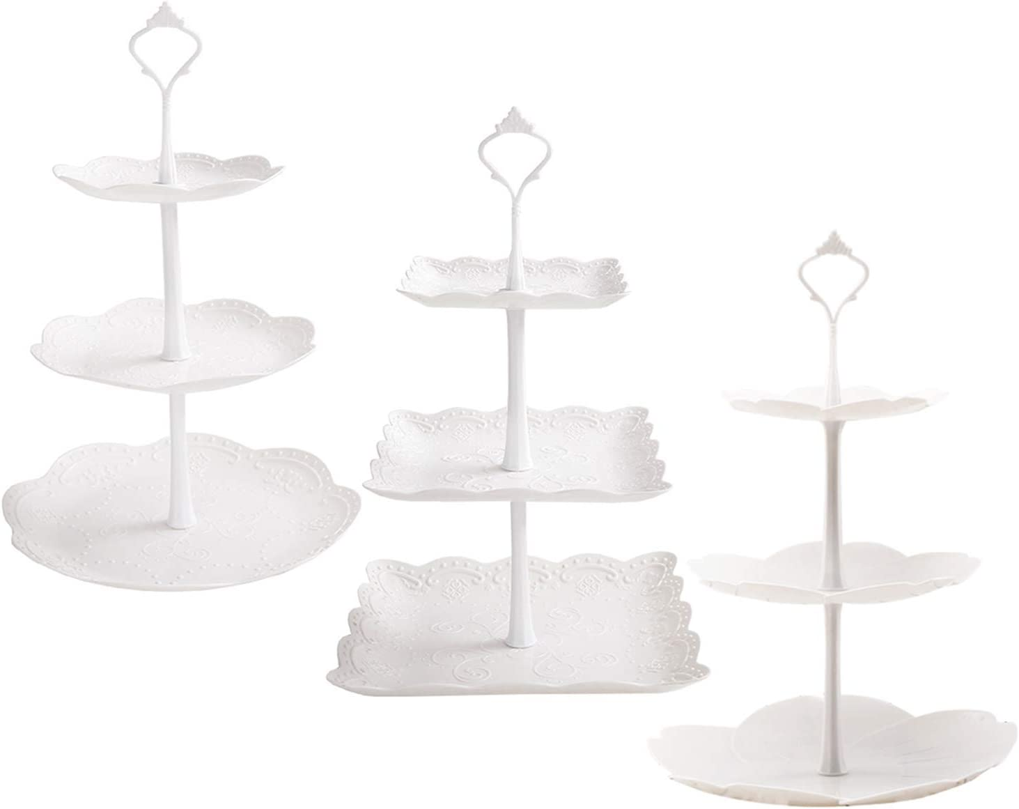 Tosnail 3 Pack 3 Tiers White Plastic Cupcake Stand Dessert Stand Tiered Serving Trays - Round, Square, Flower