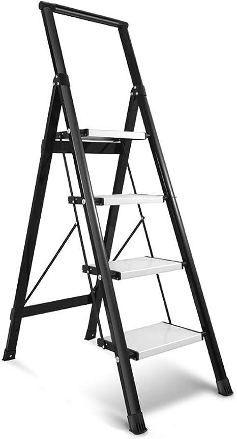 LXF Escaleras plegables Escalera De Tijera Negra con Barandilla, Escalera De Aleación De Aluminio De 4 Escalones Y Escalera Ancha Pedal Ancho Escalera Antideslizante Para El Hogar: Amazon.es: Bricolaje y herramientas