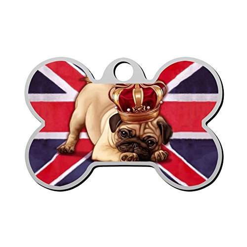England Flag Dog Pug Dog Tag Pet ID Tags Puppy Cat Bone Shaped Zinc Alloy Identity Pendant Trendy Decorates Double Sided Printed - DIY Custom (Printed Union)