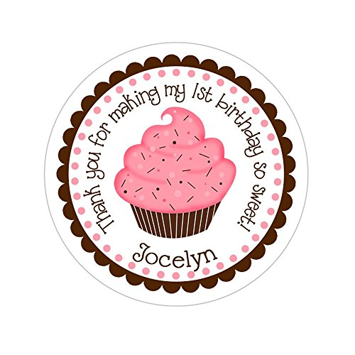 Personalized Customized Birthday Party Favor Thank You Stickers - Pink Cupcake - Round Labels - Choose Your Size