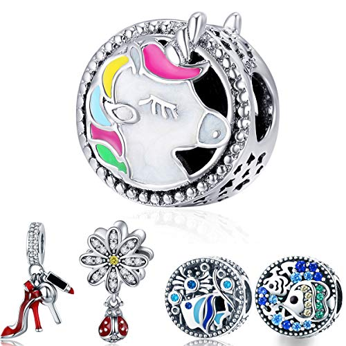 WOSTU Silver Charms 925 Sterling Silver Animal Beads fit Charm Bracelets Silver Charms Pendant