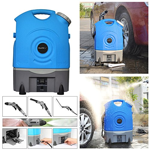 iMounTEK Outdoor Portable Multi-Purpose High Water Pressure Car Washer Spray W/ Large 17L Water Tank. Up To 3-9 Bar/130.5 PSI, 3 Spray Heads/Carrying Wheels/Built In Rechargeable Battery/Vehicle Plug (Outdoor Power Washer)