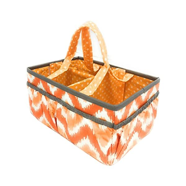Bacati Mix and Match Unisex Nursery Fabric Storage Caddy with Handles, Orange