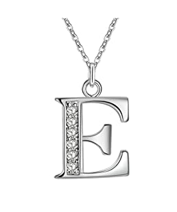 Academyus Simple Shiny Zircon 26 English Letters Pendant Women Men Necklaces Jewelry Gift E